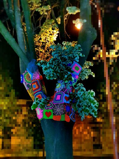 Crocheted tree-trunk Colors and patterns Patchwork Crochet Multi Colored Decoration Colorful Outdoors Tree Trunk Illuminated Hanging Night Lighting Equipment Electric Light Branch Decorated Simple Things In Life Springtime Eyeem Photography Nature Vibrant Color Pivotal Ideas Night Photography Glitchphotography Blurred Background From My Point Of View Art Is Everywhere