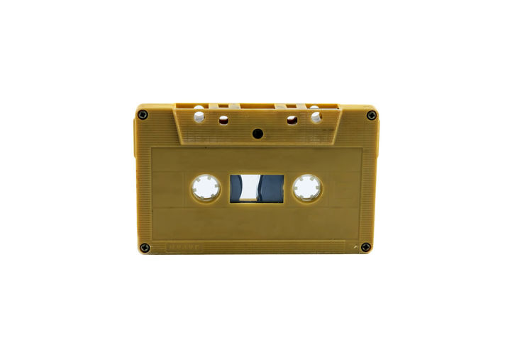 Arts Culture And Entertainment Close-up Communication Copy Space Cut Out Electrical Equipment Electricity  Gold Colored Indoors  Music No People Power Supply Push Button Retro Styled Single Object Sound Recording Equipment Still Life Studio Shot Technology Time White Background Yellow