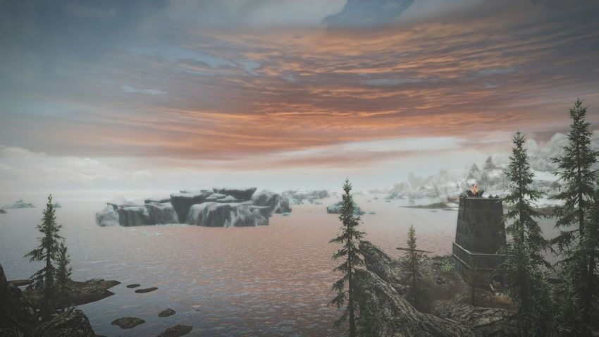 Clouds over the water.. Abd a little lighthouse. Tree Cold Temperature Sunset Outdoors Beauty In Nature Sky No People Tranquility Landscape Roleplay XboxOne Skyrim Gaming EyeEmNewHere