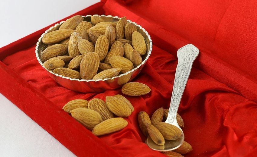 Almonds Red Food And Drink Indoors  Food No People Healthy Eating Close-up Redbackground Richfood Studio Shot Dried Fruit Nut - Food Freshness Indoors  White Background Food And Drink Almondsarelove