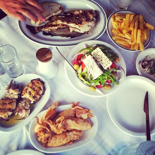 Food Foodphotography Food Photography Seafood Restaurant Seafoods CalamariFritti Squids Table Mediterranean Food Mediterranean Lifestyle Mediterranean Diet Mediterranean Cuisine Food And Drink Plate Freshness Ready-to-eat Lunch Fish Calamari Squid Salad Hand