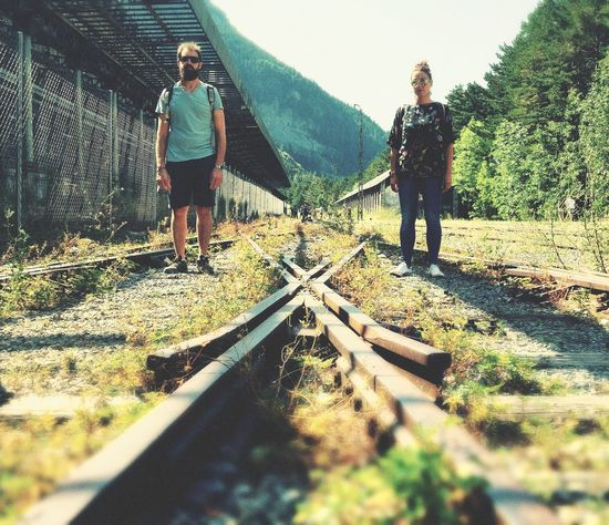 Railway Track Two People Full Length Adult Standing Adults Only Men People