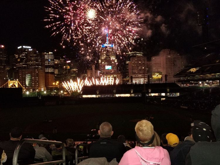 Night Firework Display Illuminated Celebration Arts Culture And Entertainment Event Firework - Man Made Object Outdoors People Large Group Of People Multi Colored Sky City Excitement Spectator Baseball Stadium Pittsburgh Pirates PNC Park Pittsburgh Pennsylvania Motion Exploding Celebration Event Awe Celebration