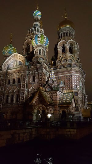 Architecture Church Travel Destinations Famous Place Night Façade Sankt-Petersburg Spas Na Krovi Tourism Dome Neighborhood Map