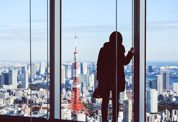 View City Cityscape Window Skyscraper Urban Skyline One Person Sky Looking Through Window Adult Woman Silhouette Tower Girl