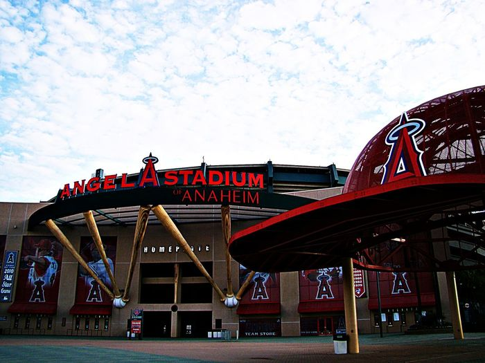 ANGEL STADIUM,ANAHEIM Ca American Anaheim Baseball Baseball Stadium BIG Blue California Cloud Communication Famous Place Hat Information Losangeles Majorleague Mlb Sign Sky Stadium Stockphoto Stockphotography Tea Travel Trip Unitedstates Ángeles