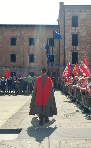 April 25..1945....Italian Liberation Day The Photojournalist - 2018 EyeEm Awards The Architect - 2018 EyeEm Awards Flag Italian Event EyeEm Selects Military Partigiani City Full Length Red Cape  Politics Political Rally Democracy Politics And Government Police Uniform The Street Photographer - 2018 EyeEm Awards