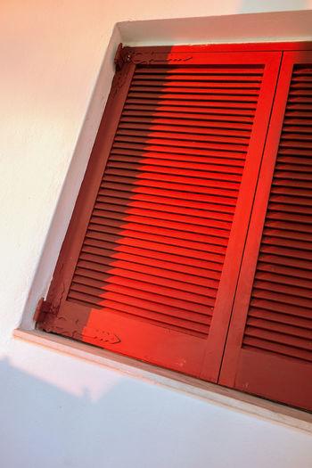 Closed window. Blinds Closed Jalousie Jalousie Window Persiennes Red Sunrise Window