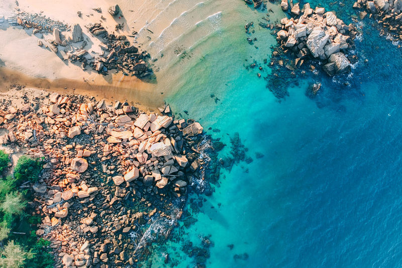 blue beach Water Sea Land Beach Scenics - Nature Aerial View Nature High Angle View Beauty In Nature Day Solid Underwater Tranquility Rock Tranquil Scene Turquoise Colored Travel Destinations Idyllic Blue Outdoors No People Pollution