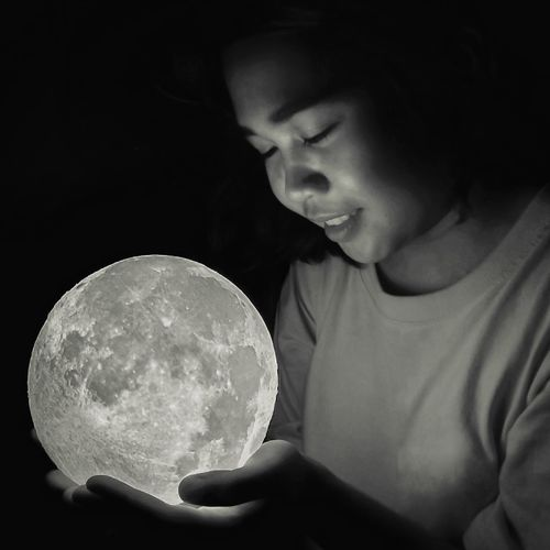 Give you the moon Moon Lamp Blackandwhite Bnw Black And White Monochrome Portrait Of A Woman Filipino Filipina Asian  Femininity Black Background Young Women Portrait Close-up Astronomy Moon Surface Planetary Moon Moon Space Astrology Full Moon The Portraitist - 2018 EyeEm Awards The Creative - 2018 EyeEm Awards