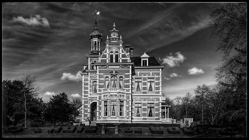 Monochrome Black And White Photography, Architecturelovers, Neo Renaissance Monumental Buildings in Darkness And Light, 'Huis de Wolf'
