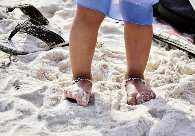 Low Section Human Leg Human Limb Limb Human Body Part Sand One Person Outdoors Day Beach Close-up Children Playing Anklet Kids Having Fun Todler Kids In Beach