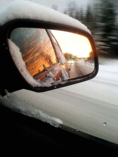 Mirror Sweden Sunset Car