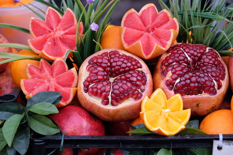 Fresh fruits for sale Choice Close-up Colorful Decorative Art Food And Drink Fresh Fruits Fresh Juices Freshness Grapefruit Grapefruitjuice Group Of Objects Oranges Pomegranate Pomegranate Seeds Sale