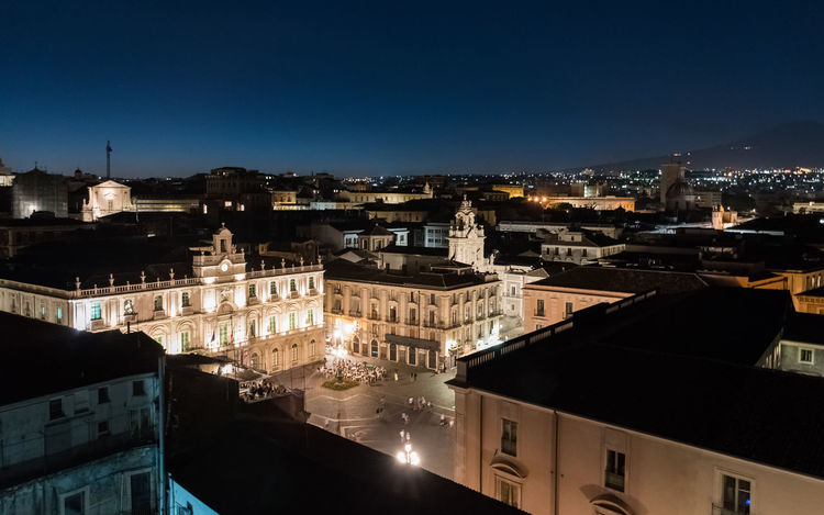 Night view of Piazza Università in Catania, seen from above. Architecture Blue Hour Catania City Cityscape Dark Sicily Skyline Square Twilight View Aerial Aerial View Blue Dusk Evening Italy Long Exposure Night Outdoors Piazza Universitá Sky Town University Urban