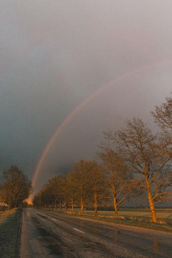 Rainbow over road against sky during rainy season