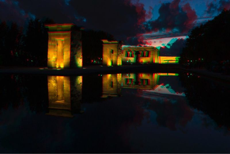 Architecture Built Structure Reflection Night Building Exterior Illuminated Sky History Cloud - Sky Travel Destinations Water No People Outdoors Ancient Civilization Nature Anaglyph ANAGLYPHE Anagliphs Anaglifo 3D Effect 3D 3D Photo Focus On The Story