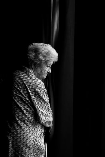 Black & White My Grandmother No Filters Or Effects Elderly Woman Light And Shadow Perfect Moment Portrait She Doesn't Know EyEmNewHere