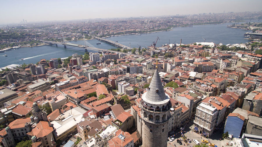 Aerial view of Galata tower Galata Tower Istanbul Nature Roof Aerial Aerial View Architecture Bosphorus Bridge Building Exterior Built Structure City Cityscape Crowded Day Galata Galata Bridge High Angle View Outdoors Residential  Residential Building Sea Sky Town Water