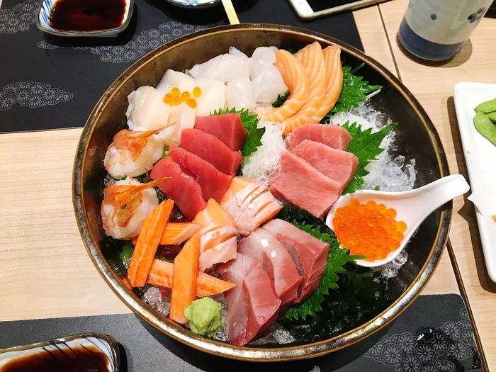 Photo By IPhone7plus BabyAlienZ Food Food And Drink Freshness Japanese Food Seafood Vegetable Meat Ready-to-eat Indoors  Sashimi  Sushi SLICE Healthy Eating Raw Food Rice - Food Staple Plate No People Close-up