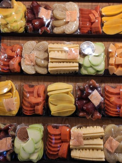 High angle view of various food for sale