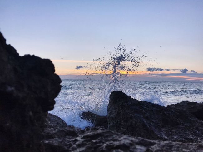 Perspectives On Nature Sea Water Nature Rock Beauty In Nature Rock - Object Horizon Over Water Sunset Motion Scenics No People Sky Wave Outdoors Day Withfriends Lovely Love To Take Photos ❤ Passion Passionforphotography