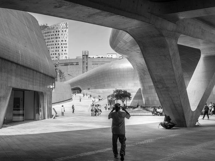 People At Dongdaemun Design Plaza In City