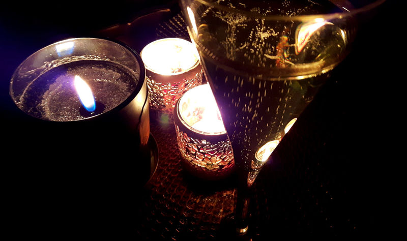 Romantic evening Burning Candle Candles Celebration Champagne Close-up Flame Glowing Illuminated Indoors  Romantic Dinner Romantic Setting Szampan Tea Light świece EyeEmNewHere Wine Not
