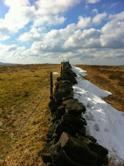 Nature Sky Cloud - Sky Tranquility Landscape Environment Scenics Day Outdoors No People Beauty In Nature Tranquil Scene Wall Snow Dry Stone Wall Lancashire Moors Cribden