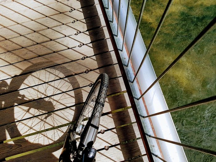 High angle view of bicycle tire on balcony