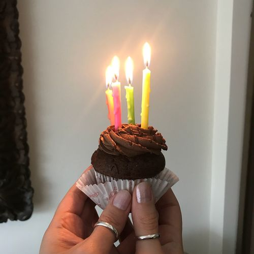 Happy bday to me ☝🏻😊❤️ Birthday EyeEm Selects Human Hand Sweet Food Sweet Hand Dessert Anniversary Candle Indoors  Real People Celebration Holding