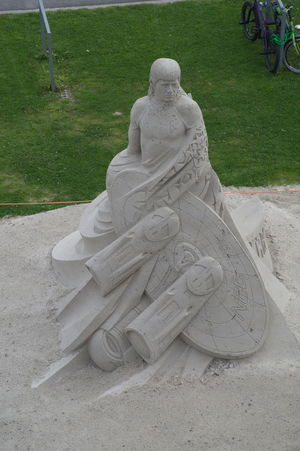 Day No People Outdoors Sand Sandsculpture Science Fiction Sculpture Space Spock Star Trek Statue