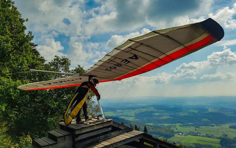 Hanggliding Hangglider Hang Gliding Human Take Off Ready For Take Off Tree Sky Cloud - Sky