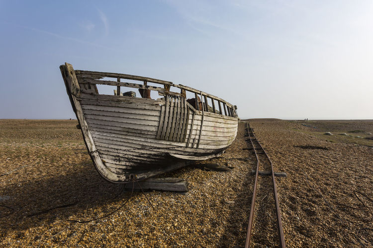 Abandoned Fishing Boat at Dungeness, Romney Marsh, England, United Kingdom Agriculture Close-up Day Field Nature No People Outdoors Rural Scene Sky Transportation