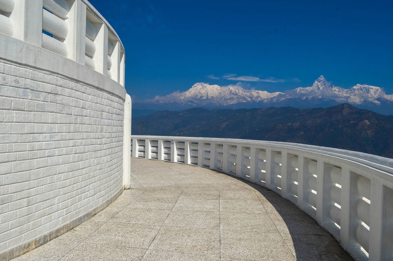 Observation point of shanti stupa temple against sky