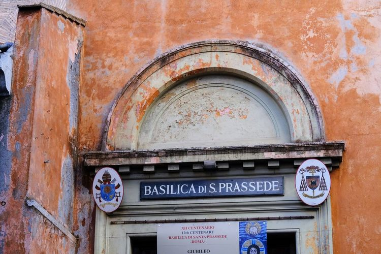 Rome, Italy - August 15, 2017: Basilica of Saint Praxedes entrance. Italian: Basilica di Santa Prassede all'Esquilino, ancient titular church and minor basilica in Rome Basilica Church Entrance Religious Art Roma Rome Rome Italy🇮🇹 Rome, Italy Architecture Building Exterior Built Structure Byzantine Byzantine Architecture Churches Close-up Facade Building Facade Detail No People Outdoors Religion Religious  Religious Architecture Rome Italy Theology