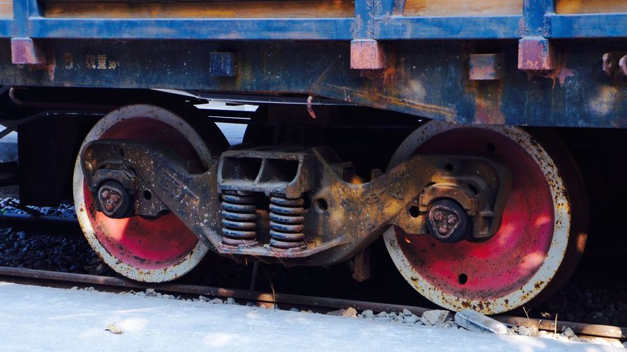 Close-up of abandoned train on railroad track