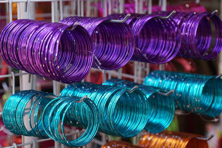 Close-Up Of Bangles Hanging At Store