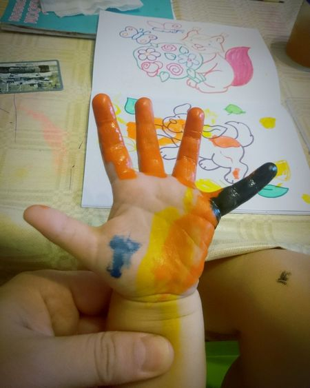 Hand Palm Paint Painting Kid Human Hand Human Body Part Indoors  Human Finger Day Painted Hands