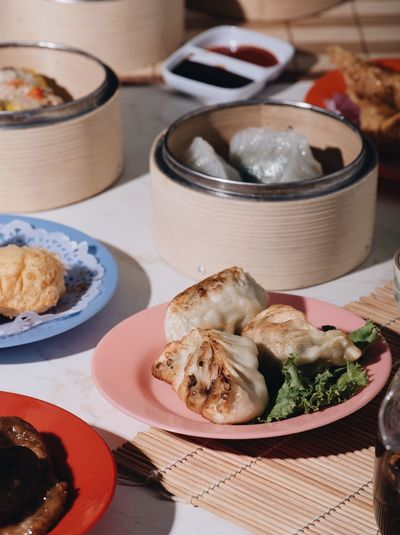 Chinese dim sum . Morning breakfast Dimsum Chinese Food And Drink Food Freshness Table Plate Wellbeing Ready-to-eat Asian Food No People High Angle View Healthy Eating Indoors  Japanese Food Still Life Serving Size Close-up Meal Bread Focus On Foreground Chinese Food
