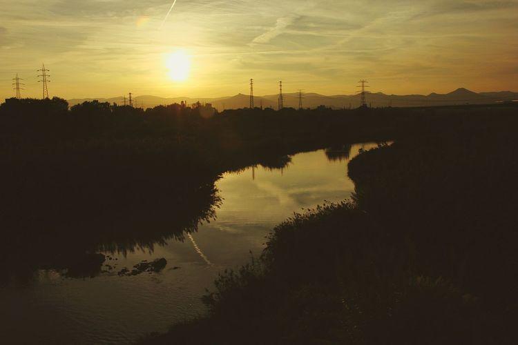 Delta Llobregat River Sunset Hospitalet De Llobregat Barcelona