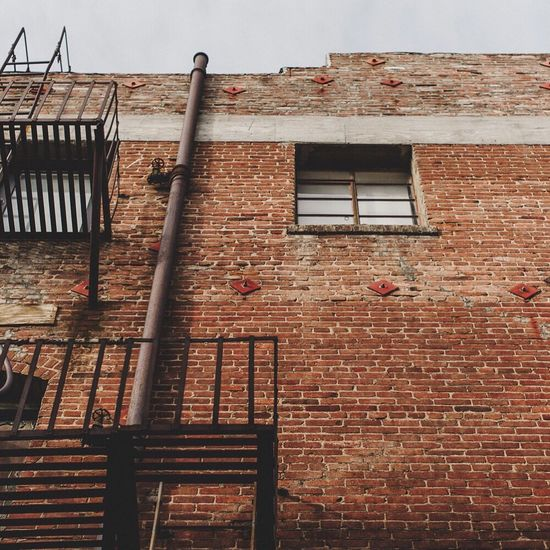 Brick Building Metal Fire Escape Window Old Rustic Urban City Wall California Pasadena
