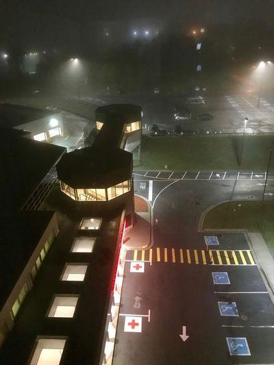 #hospitalatnight #nightshift #hospital Night Architecture Illuminated Road High Angle View Transportation Sign