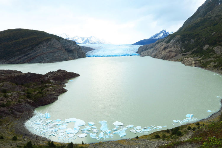 High angle view of icebergs floating in river at torres del paine national park