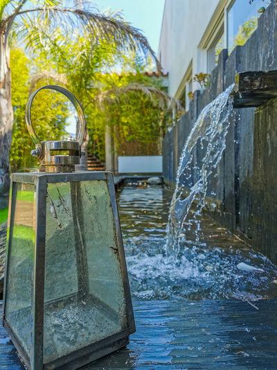Water fountain in lake