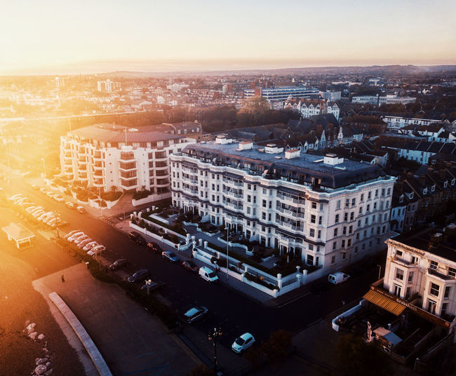 Drone shots of Worthing seaside Drone  Dronephotography Drone Photography Droneshot DJI Mavic Pro Dji DJI X Eyeem Pilot Sky Fly Building Exterior Architecture City Built Structure High Angle View Cityscape Building Transportation Street Nature Mode Of Transportation No People City Life Residential District Sunset Road Aerial View Car Outdoors Office Building Exterior Skyscraper