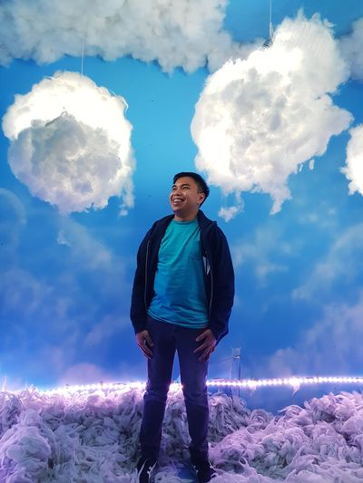 Cloud 9. Capture Tomorrow Full Length Cyberspace Men Portrait Standing Cloud Computing Blue Sky Cloud - Sky Moments Of Happiness
