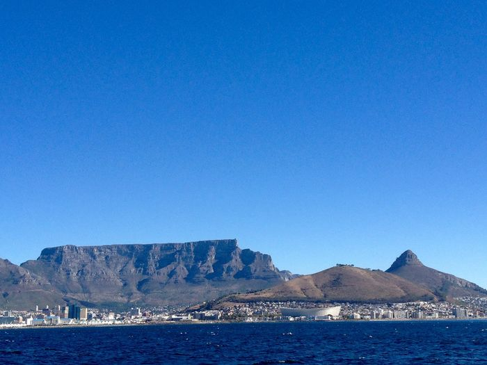 Green Point Stadium Cape Town Stadium Summer Blue Sky Ocean Africa Cape Town Southafrica Signal Hill Table Mountain