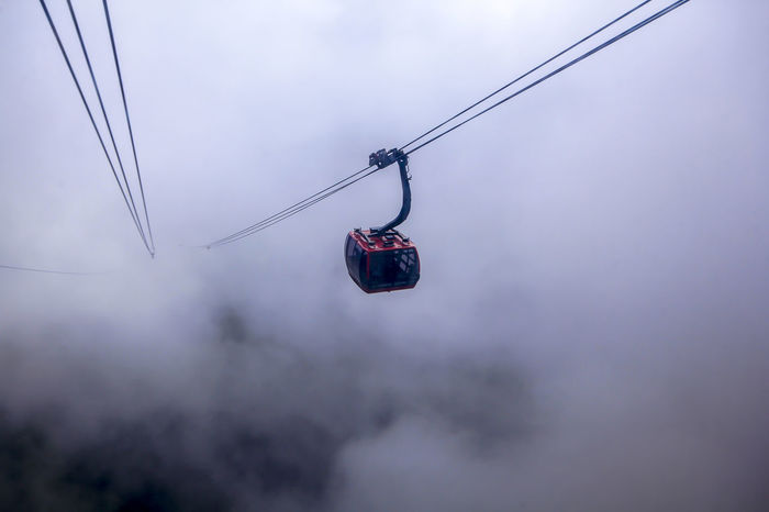 Cable car Cable Car Cable Car Tracks Cable Cable Car Cable Car Barn Cable Car View Cloud - Sky Connection Day Fog Hanging Low Angle View Nature No People Outdoors Overcast Overhead Cable Car Ski Lift Sky Steel Cable Transportation Travel Winter
