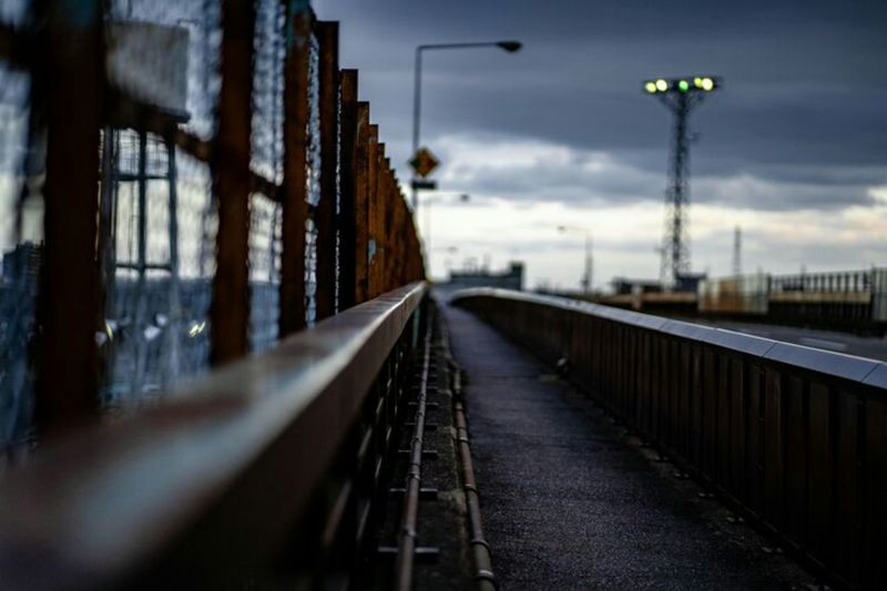 Surface level of railway bridge against sky